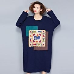 Showie - 长袖印花T恤裙