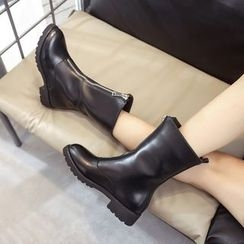 楊董 - 粗跟前拉鍊靴