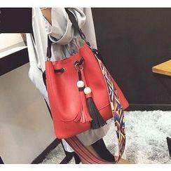 Youshine - Set: Tasseled Bucket Bag + Faux Leather Shoulder Bag