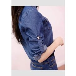 DEEPNY - Pocket-Front Tab-Sleeve Denim Shirt
