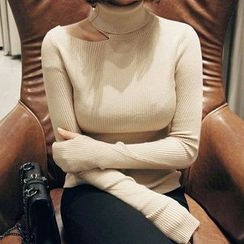 Seoul Fashion - Cutout-Neckline Turtle-Neck Ribbed Knit Top