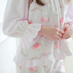 Snorie - Pajama Set: Printed Long Sleeve Top + Pants