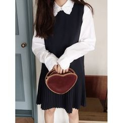 maybe-baby - Frilled-Collar Cotton Blouse