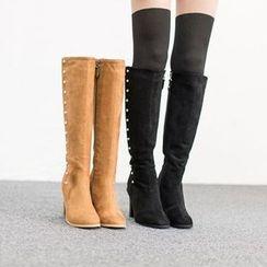 VIVIER - Faux-Pearl Faux-Suede High Boots