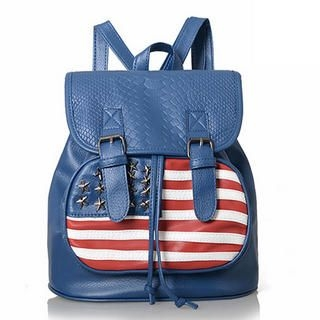 Smoothie - Flag-Pattern Croc-Grain Backpack