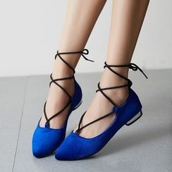 JY Shoes - Lace Up Velvet Flats