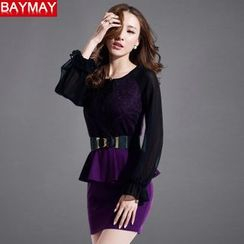 BAYMAY - Lace Panel Peplum Dress with Belt