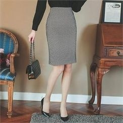 ode' - Patterned Slit-Back Pencil Skirt