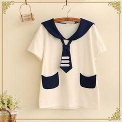 Fairyland - Short-Sleeve Sailor Collar T-Shirt