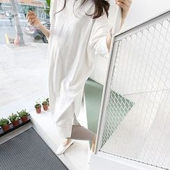 MARSHMALLOW - Maternity 3/4-Sleeve Slit-Side Dress