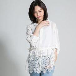 LULUS - Lace-Hem Drawstring-Waist Chiffon Shirt