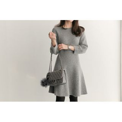 UPTOWNHOLIC - Boat-Neck A-Line Wool Blend Dress