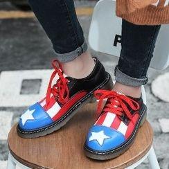 Mancienne - Color-Block Patterned Lace-Up Shoes
