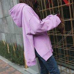 DABAGIRL - Hooded Slit-Side Brushed-Fleece Lined Pullover