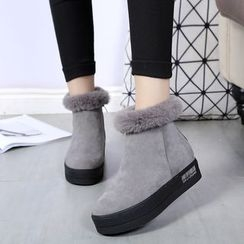 Wello - Furry Trim Hidden Wedge Ankle Boots
