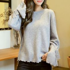 MayFair - Plain Bell-Sleeve Sweater