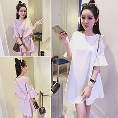 Honeydew - Embellished Elbow Sleeve Cold Shoulder A-Line Dress
