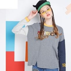 MUKOKO - Striped Color Block Long-Sleeve T-Shirt
