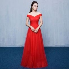 Luxury Style - Off-Shoulder A-Line Evening Gown