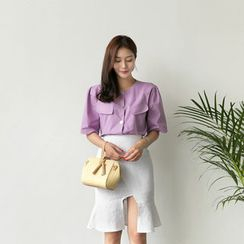 UPTOWNHOLIC - Round-Neck Flap-Detail Blouse