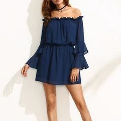 Rebecca - Off-shoulder Tiered Long-Sleeve Chiffon Dress