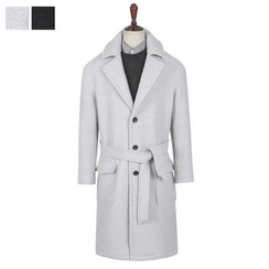 DANGOON - Notched-Lapel Wool Blend Long Coat with Sash