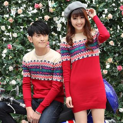 Igsoo - Couple Matching Patterned Sweater