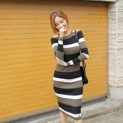 Cherryville - Striped Knit Bodycon Dress