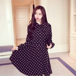 RUI - Long-Sleeve Dotted Dress