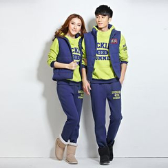 Lovebirds - Set of 3: Couple Pullover + Zip Vest + Pants