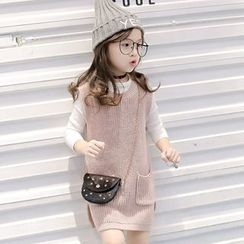 Candy Baby - Kids Pocketed Knit Tank Dress