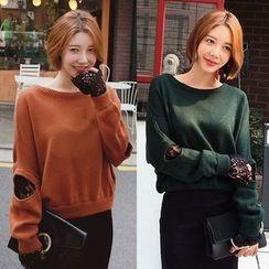 Seoul Fashion - Cutout-Detail Lace-Layered Knit Top