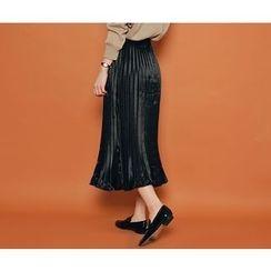 HOTPING - Band-Waist Pleated Midi Skirt