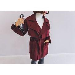 PPGIRL - Flap-Detail Wool Blend Trench Coat