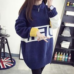 FR - Color Block Lettering Long Sweater