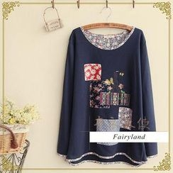 Fairyland - Floral Piped Patchwork Round-Neck T-Shirt