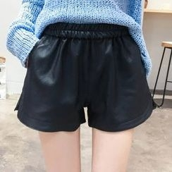Heybabe - Faux Leather Shorts