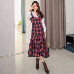 PPGIRL - Ruffle-Hem Checked Long Dress