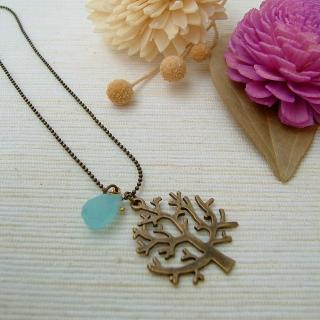 MyLittleThing - Blue Drop Tree Necklace