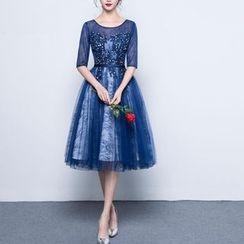 名贵风格 - 水钻中袖晚装裙