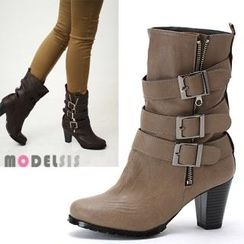 MODELSIS - Zip-Side Buckled Boots