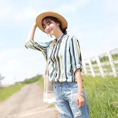 CLICK - Tab-Sleeve Stripe Shirt