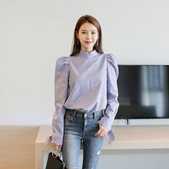 WITH IPUN - Puff-Sleeve Tie-Cuff Striped Top