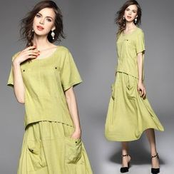 Y:Q - Set: Short-Sleeved Linen Top + Linen Skirt