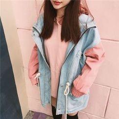 QZ Lady - Color Panel Hooded Long Denim Jacket