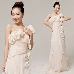 Gracia - One-Shoulder Chiffon Evening Gown