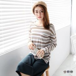 OrangeBear - Stripe Pocketed Dolman Knit Top