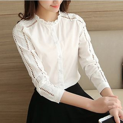 Cobogarden - Frill Trim Perforated Long-Sleeve Shirt