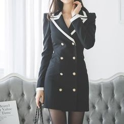 Aurora - Contrast-Trim Double-Breasted Coatdress