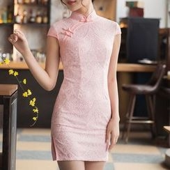 Miss Four Qipao - Lace Cap-Sleeve Cheongsam